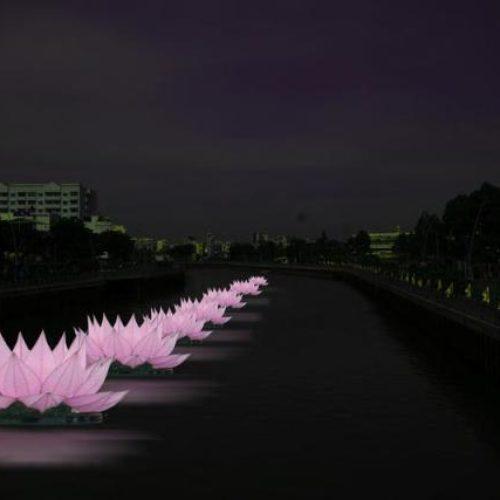 """PG Q.Phú Nhuận: 7 đóa sen """"khổng lồ"""" trên sông Nhiêu Lộc mừng Phật Đản PL. 2557"""