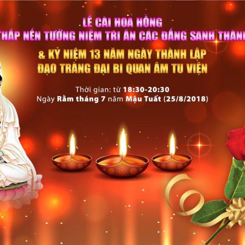 Thiêng liêng buổi thắp nến tri ân tại Quan Âm Tu Viện (PL.2562 – DL.2018)